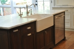 Farmhouse sink in island
